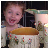happy little girl with happy bird bowls